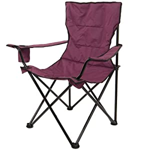 Purple Deluxe Folding Outdoor Camping Arm Chair Seat