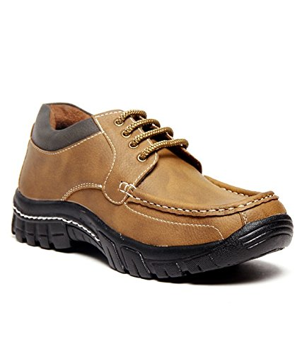 ZAPATOZ Tan Textured Lace Up Casuals Outdoors Shoes