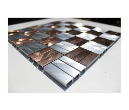 Edelstahl Mosaik Glasmosaik Fliesen Edelstahlmosaik - Alu-Mosaik-SILBER-BRONZE - 1 Matte