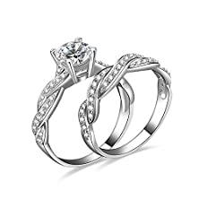 buy 1.5Ct Infinity Wedding Band Anniversary Engagement Ring Bridal Set 925 Sterling Silver Cubic Zirconia Size 7.5