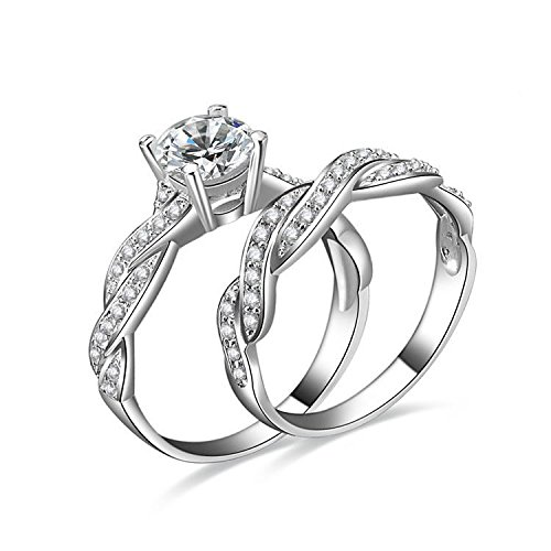 1.5ct Infinity Wedding Band Anniversary Engagement Ring Bridal Set 925 Sterling Silver Cubic Zirconia Size 7