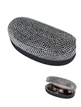Stylish Bling Sun Glass Case Silver Tone Rhinestone Studded Fashion Glasses Case