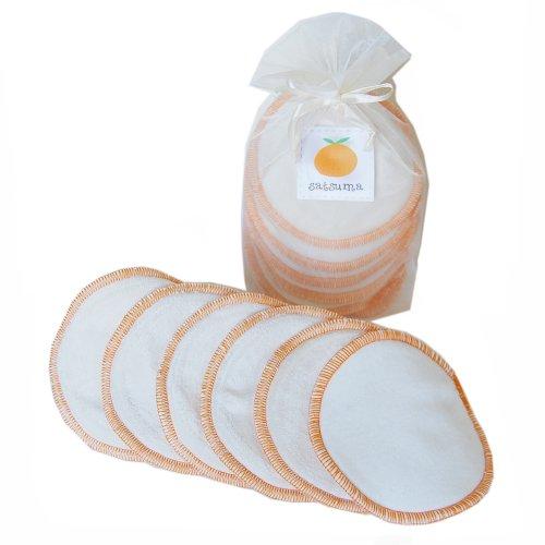 Satsuma Designs Organic Washable 3-Pack Nursing Pads, Natural/Orange