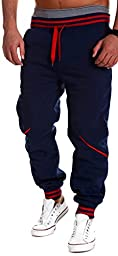 Men\'s Casual Harem Baggy Hiphop Dance Jogger Sport Sweatpants Trousers(Blue,XXL)