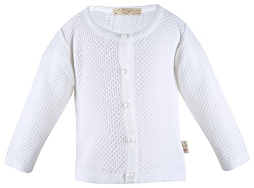 Lilax Baby Girls' Basic Knit Cardigan Sweater 9-12 Months White