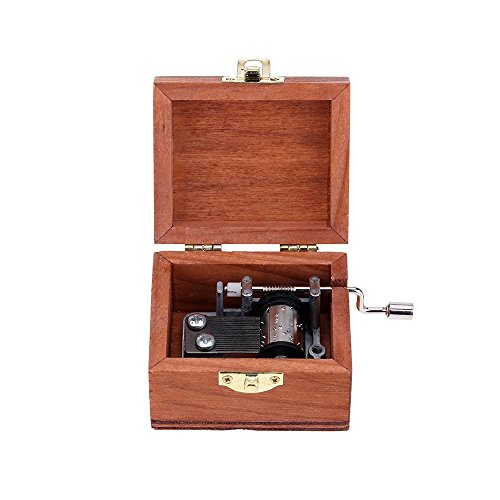 Exquisite Hand Crank Musical Box Retro Vintage Wooden Music Box 4 Different Patterns for Option Beautiful Decorative Patterns 2