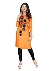 Women Icon Orange Printed Semi-Stitched Kurti WICLE11488_XL