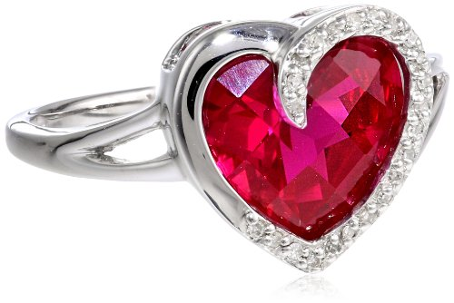 Sterling Silver Checkerboard Created Ruby Heart Diamond Ring (1/14 cttw, J-K Color, I2-I3 Clarity), Size 7
