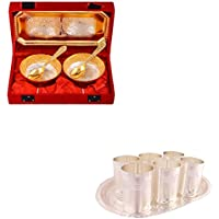 Silver & Gold Plated 2 Mini Flower Bowl With Spoon And Tray And Silver Plated 6 Premium Glass Set With Oval Tray