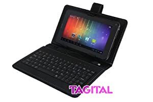 "Tagital® 7"" Android 4.0 Bluetooth Phone Tablet GSM Dual Camera Unlocked Play Store Pre-installed Bundled with Keyboard Case"