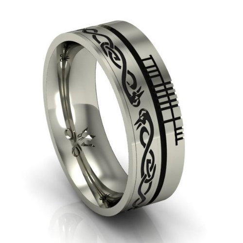 Celtic Symbol Wedding Band - Le Cheile - .925 Silver - Size 12.5