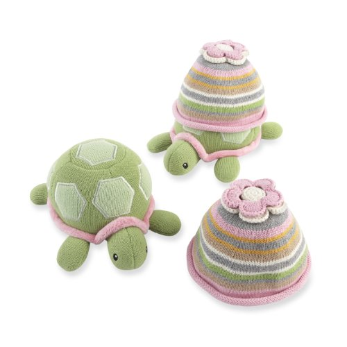 Baby Aspen Turtle Toppers Baby Hat And Turtle Plush Gift Set, Pink