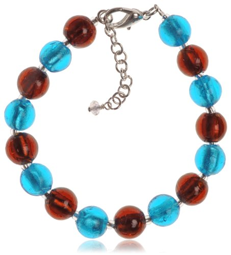 The Jewellery Factory Silver Plated Copper and Aqua Murano Style Bead Bracelet of 23.5cm