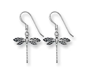 Sterling Silver Dragonfly Drop Earrings - SIZE: 15mm 6019 . Shipped in our quality Silver Gift Box by 1st class mail