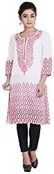 Geroo Women's Cotton Regular Fit Kurta (MKK-15113AZ, White and Red, M)