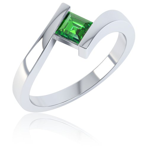 Jian Chrome Diopside Square Stacking Silver Crossover Ring I
