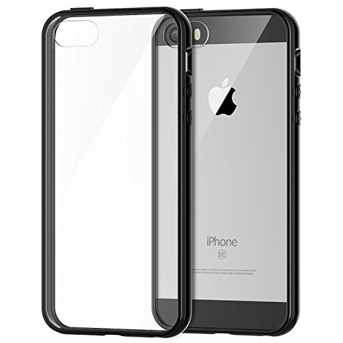 iPhone SE Case,Amabuy Crystal Clear Soft Slim Flexible TPU Back Cover Shock-Absorption Transparent Rubber Case for Apple iPhone SE(Special Edition)/5/5S Plating Bumper (Black) (Iphone 5 Bumper With Clear Back compare prices)