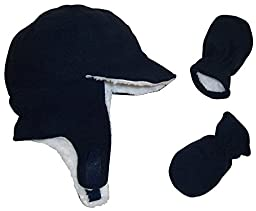 N\'Ice Caps Boy Sherpa Lined Fleece Brim Flap Hat and Mitten Set (6-18 Months, Navy Infant)