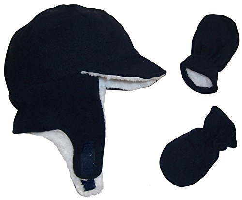 N'Ice Caps Boy Sherpa Lined Fleece Brim Flap Hat and Mitten Set (12-18 Months, Navy Infant)
