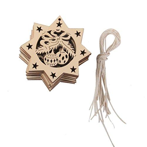PIXNOR 10pcs Mini Christmas Tree Ornaments Wooden Embellishments - Octagon Bells