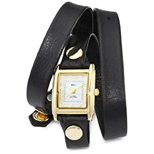 La Mer Collections Women's LMWTW1035 Black Washed Gold Triple Wrap Watch