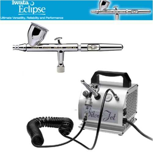 Iwata Eclipse HP-CS Airbrushing System with Silver Jet Air Compressor