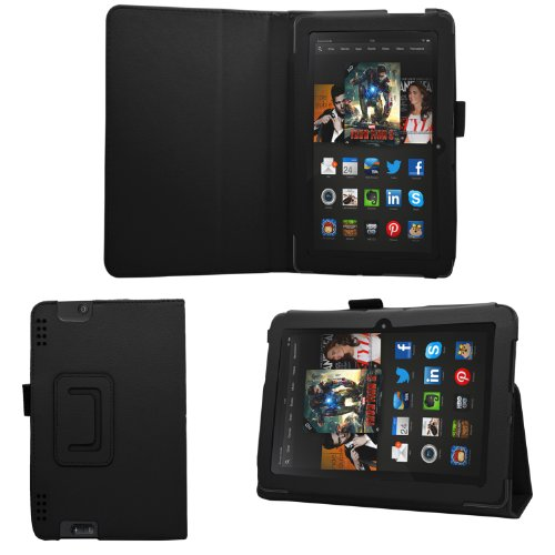 """Samrick - Amazon Kindle Fire Hdx 8.9"""" Inch - Executive Specially Designed Leather Book Folio Wallet Case With Exclusive Viewing Stand - Black"""