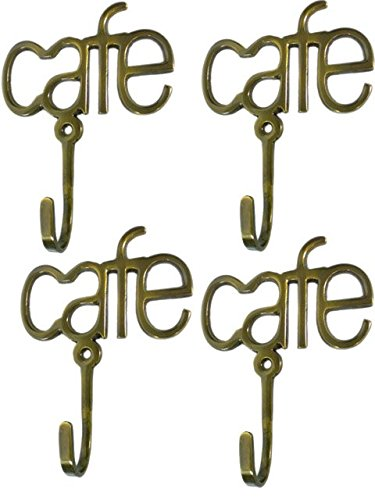 Set of 4 Metal Cafe Coffee Bistro Kitchen Wall Hooks