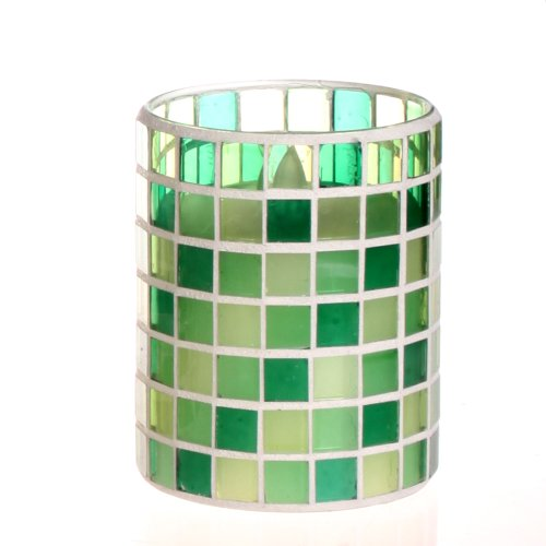 Dfl 3*4 Inch Grid Spring Green Color Mosaic Glass With Flameless Led Candle With Timer,Work With 2 Aa Battery