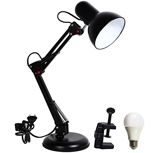 Mr.Lighting 2-in-1 Metal Swing Arm Adjustable LED Desk Lamp, with 5W LED Bulb, Clamp-on Base, Black Finish (Desk Lamp Mounting Bracket compare prices)