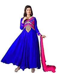 Women's Blue & Pink Embroidered Georgette Suit