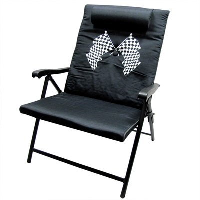 Amazon Com Racing Flag Black Folding Pool Chair With