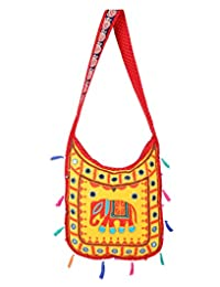 Gorgeous Yellow Embroidered Cotton Elephant Sling Bag For Women's By Rajrang