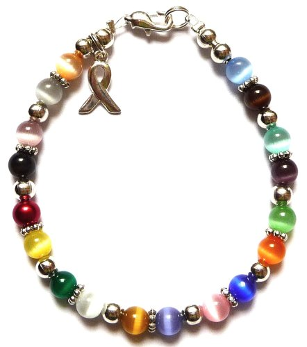 Prepackaged (7 3/4 in.) Cancer Awareness Bracelet 18 Colors, 6mm