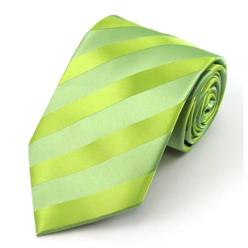 Absolute Stores Boys Lime Solid Color Tonal Stripe Prep Ties