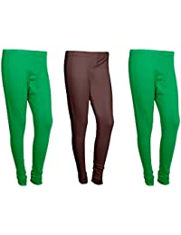 Indistar Women Cotton Legging Comfortable Stylish Churidar Full Length Women Leggings-Green/Brown-Free Size-Pack... - B0714KVRHB