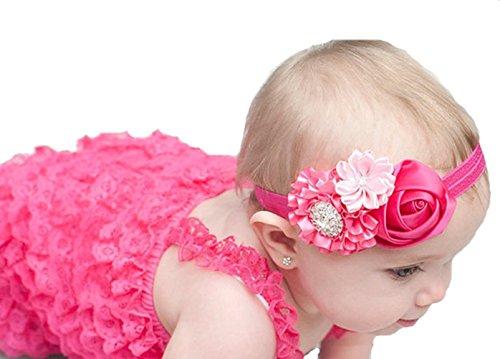 Qs 5 Pieces Baby's Headbands Girl's Cute Head Band Hair Bow Crystal Flower (5 Pack)