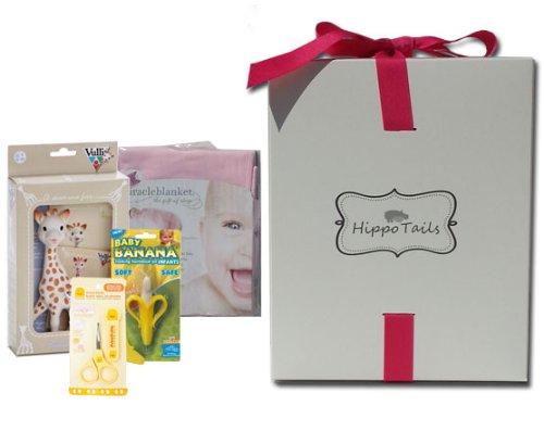 Hippo Tails Pink Miracle Blanket, Sophie Giraffe, Piyo Baby Nail Scissors, & Baby Banana Brush Gift Set