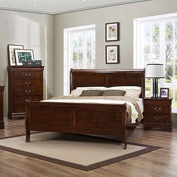 Homelegance Mayville 3 Piece Sleigh Bedroom Set in Brown Cherry