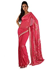 Deep Pink Indian Ethnic Saree Floral Sequins Hand Work Georgette Sari