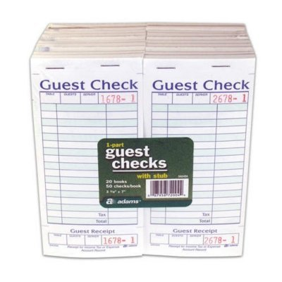 Adams SA540A Guest Check With Stub ( 50 Checks Per Pad) (Restaurant Check Pad compare prices)