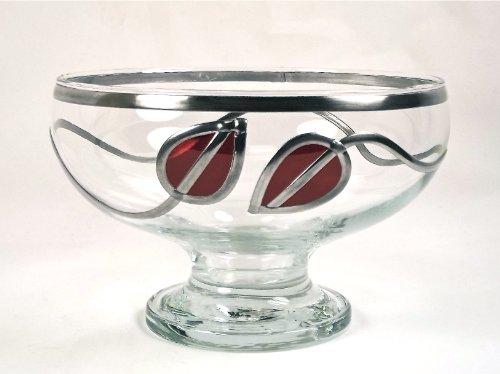 Handcrafted Rennie Mackintosh Style Glass Stem Bowl, Height 12cm, Diameter 18cm. Art Deco, Art Nouveau Leaf Design