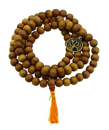 Tibetan Zen Buddhist Wooden 108 Yoga Meditation Mala Prayer Beads, 12mm (Brass Tree of Life)