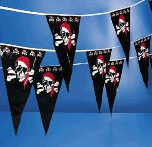 Jolly Roger Pirates Pennant - 100 feet long!