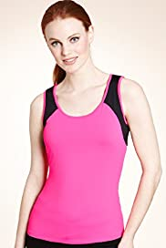 Active Performance Scoop Neck Mesh Vest Top with Secret Support