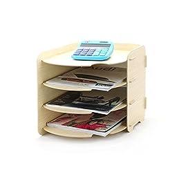 NATAMO Oval Wooden Paper Shelf File Organize 4 Floors,Wood color