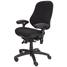 "BodyBilt J2507x Black Fabric High Back Task Ergonomic Chair with Arms, 22"" Length x 21.50"" Width Backrest, 21"" Width Seat, Grade 3 Comfortek"