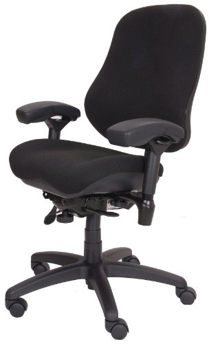 "BodyBilt J2507x Black Fabric High Back Task Ergonomic Chair with Arms, 22"" Length x 21.50"" Width Backrest, 21"" Width Seat, Grade 3 Comfortek"