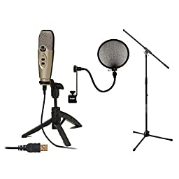 CAD U37 Condenser USB Mic 10\' Cable 2 Stands Filter
