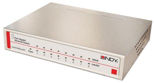 LINDY Network Switch Gigabit Desktop 8 Port, 10/100/1000 (25045)